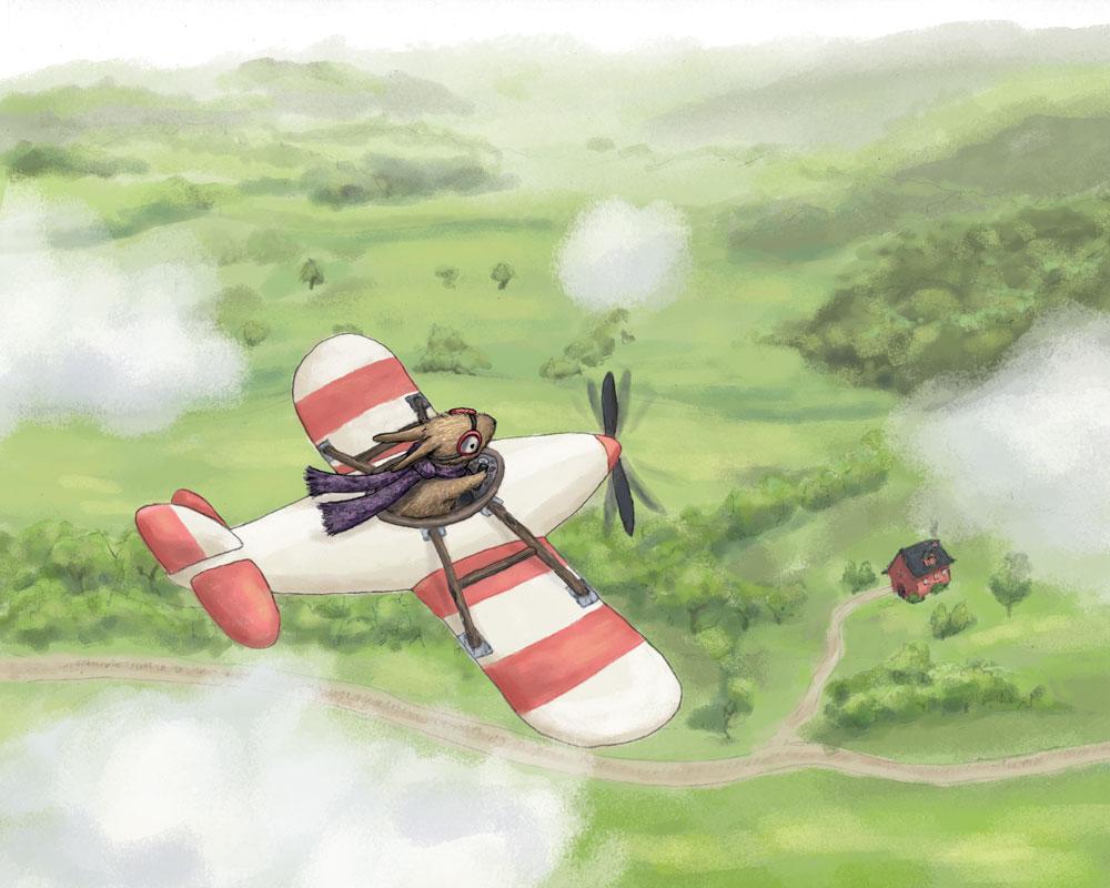 Bunny flying airplane illustration