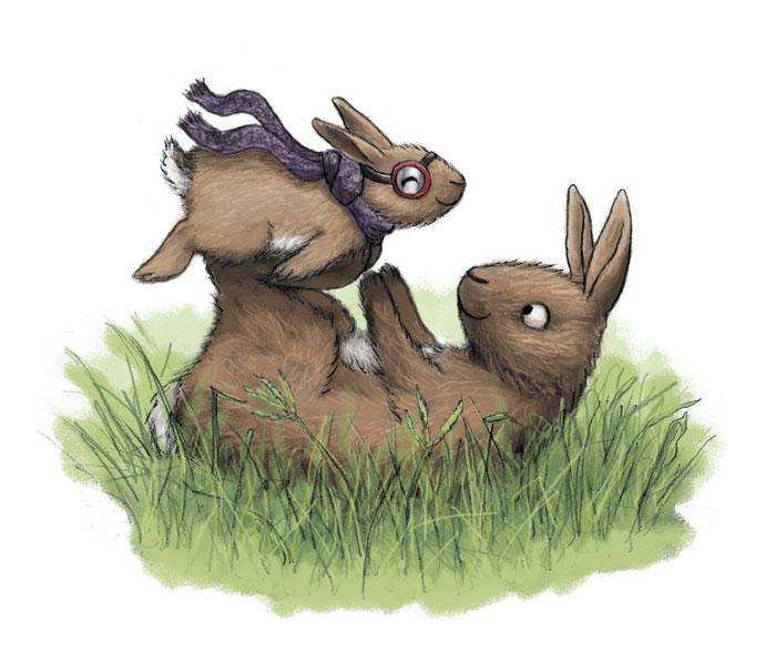 Baby and mama bunny playing airplane
