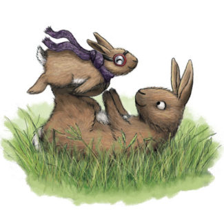 Baby bunny and parent illustration