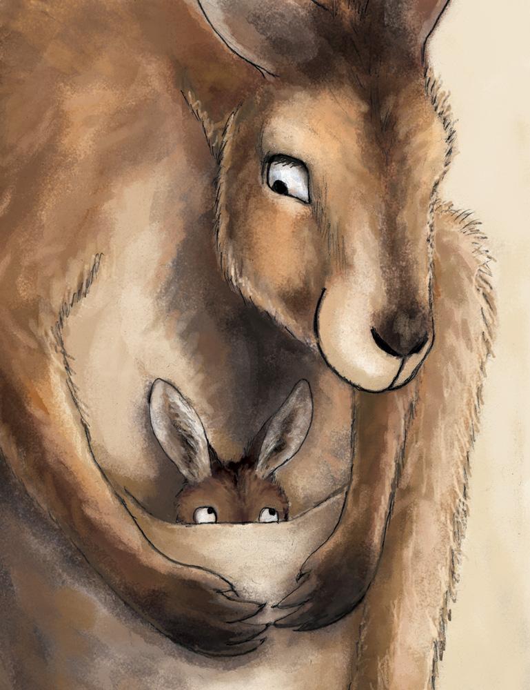 Kangaroo mom and joey