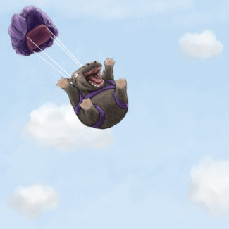 Skydiving hippo illustration