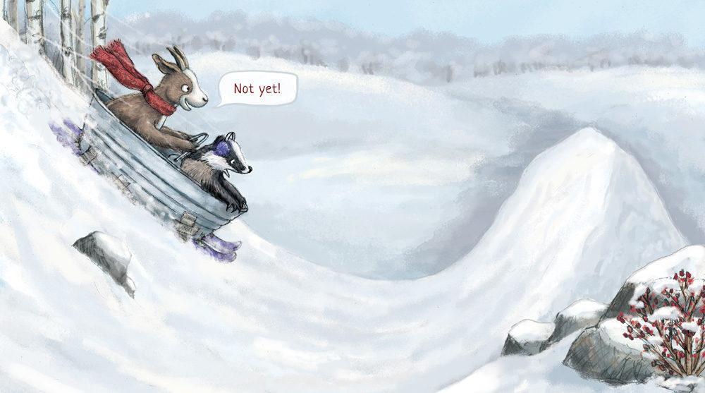 Goat and Badger sledding illustration