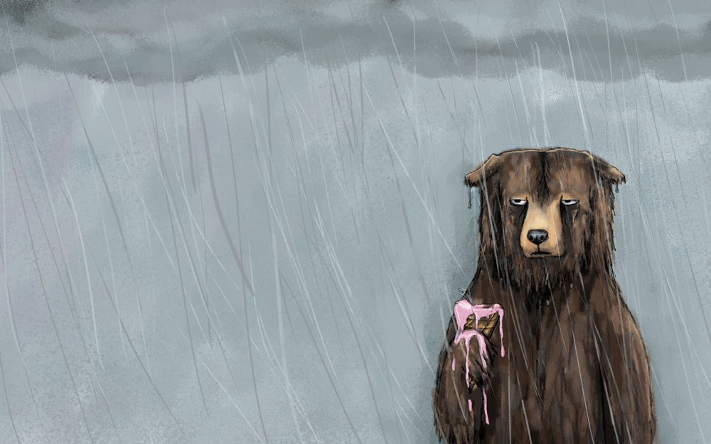 Bear in rain with ice cream cone
