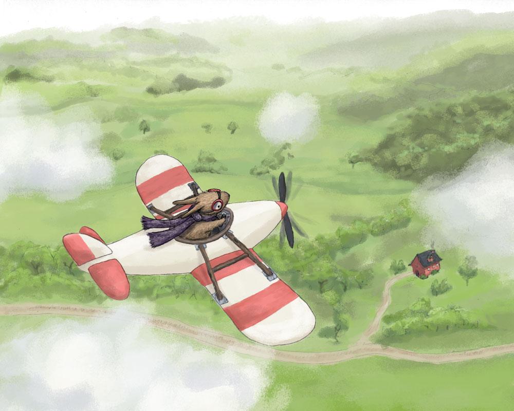 Bunny flying airplane