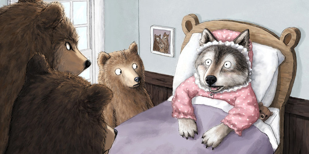 Wolf and the Three Bears illustration